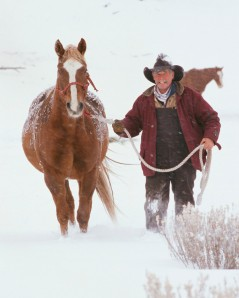 Rancher Leading Horse Through Snowy Field